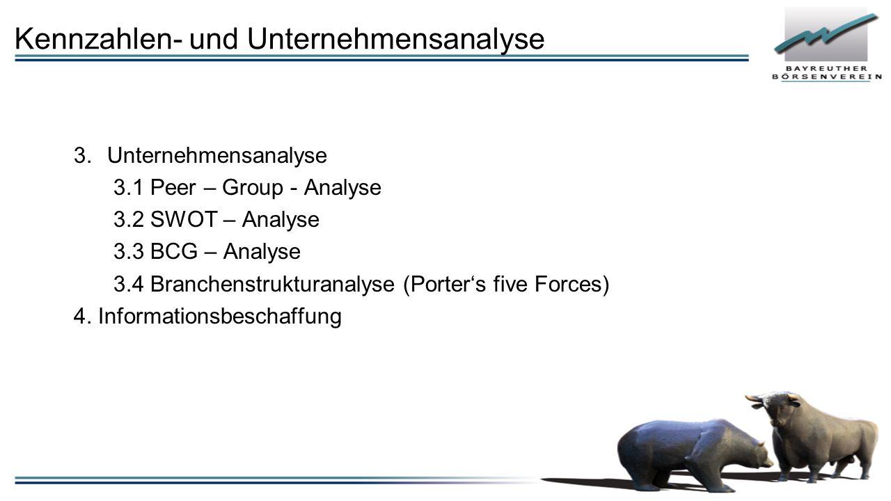 Kennzahlen- und Unternehmensanalyse 3.Unternehmensanalyse 3.1 Peer – Group - Analyse 3.2 SWOT – Analyse 3.3 BCG – Analyse 3.4 Branchenstrukturanalyse (Porter's five Forces) 4.