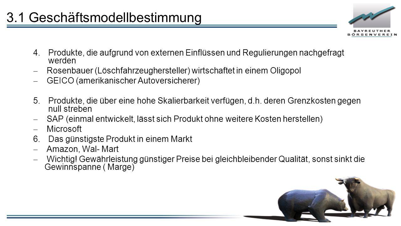 3.1 Geschäftsmodellbestimmung 4.Produkte, die aufgrund von externen Einflüssen und Regulierungen nachgefragt werden  Rosenbauer (Löschfahrzeughersteller) wirtschaftet in einem Oligopol  GEICO (amerikanischer Autoversicherer) 5.Produkte, die über eine hohe Skalierbarkeit verfügen, d.h.