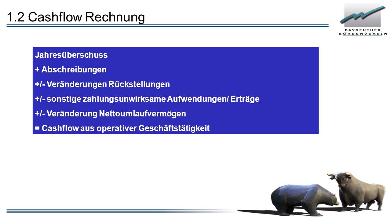 1.2 Cashflow Rechnung - Investitionen in Sachanlagen( imm.