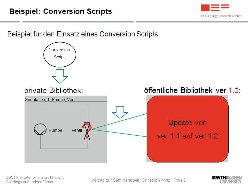 Ventile (Package) Beispiel für den Einsatz eines Conversion Scripts Beispiel: Conversion Scripts Vortrag zur Seminararbeit | Christoph Wirtz | Folie 6 Simulation_1_Pumpe_Ventil: private Bibliothek: öffentliche Bibliothek ver 1.1: PumpeVentil Ventil_klein_1 (Model) Ventil_groß_1 (Model) Ventile_groß (Package) Vent_1 (Model) Vent_2 (Model) Conversion Script Ventile_klein (Package) Vent_2 (Model) Vent_1 (Model) .