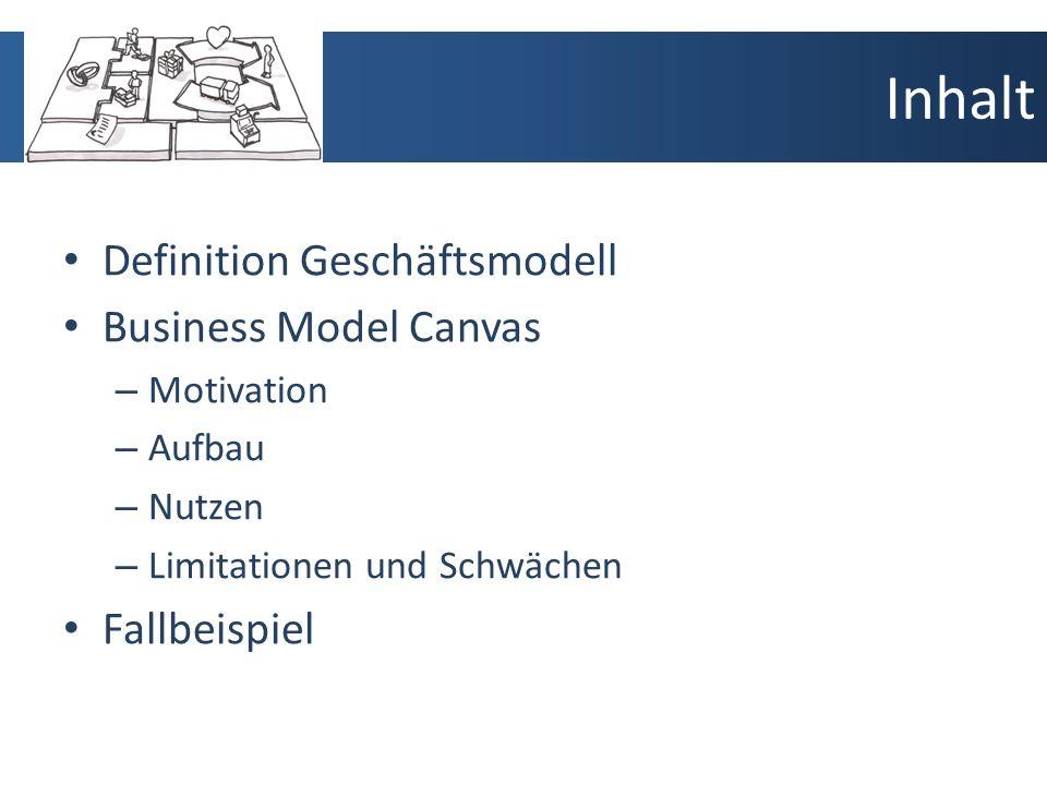Inhalt Definition Geschäftsmodell Business Model Canvas – Motivation – Aufbau – Nutzen – Limitationen und Schwächen Fallbeispiel