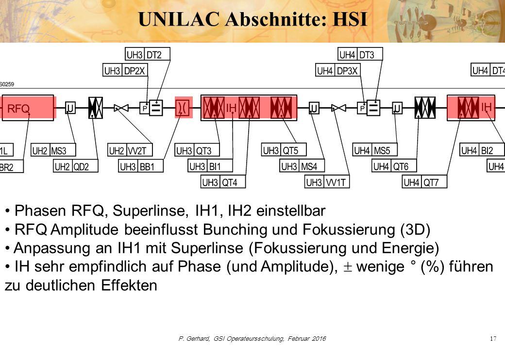 P.Gerhard, GSI Operateursschulung, Februar 201618 UNILAC Abschnitte: Gasstripper i.d.R.