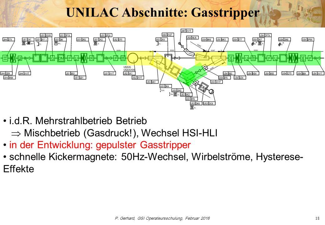 P. Gerhard, GSI Operateursschulung, Februar 201618 UNILAC Abschnitte: Gasstripper i.d.R. Mehrstrahlbetrieb Betrieb  Mischbetrieb (Gasdruck!), Wechsel
