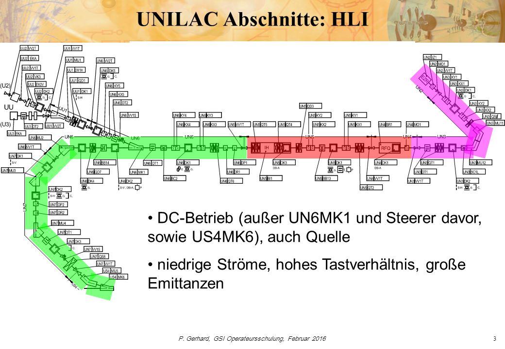 P. Gerhard, GSI Operateursschulung, Februar 20163 UNILAC Abschnitte: HLI DC-Betrieb (außer UN6MK1 und Steerer davor, sowie US4MK6), auch Quelle niedri