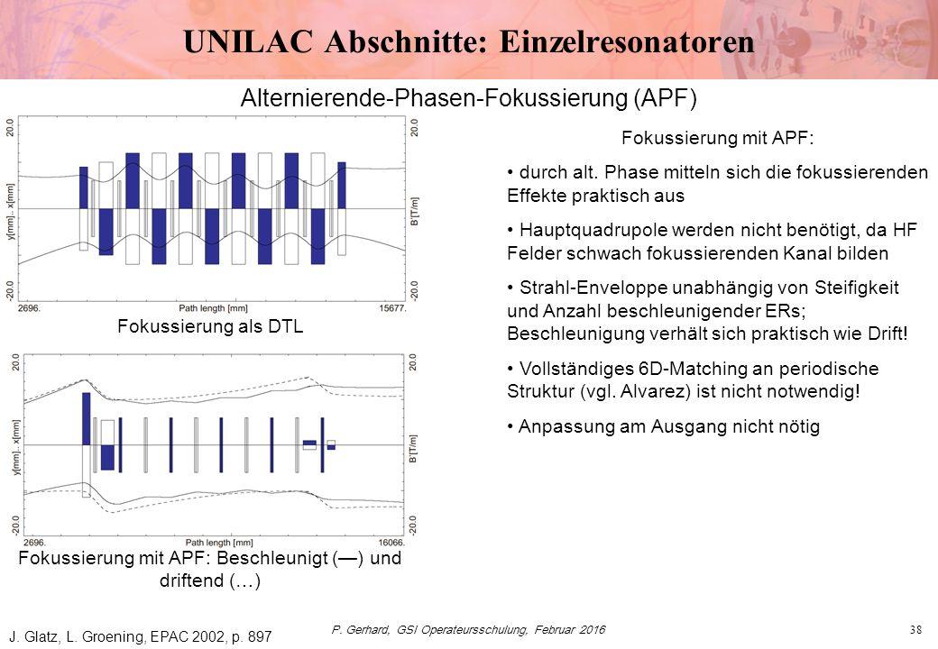 P. Gerhard, GSI Operateursschulung, Februar 201638 UNILAC Abschnitte: Einzelresonatoren Fokussierung als DTL Fokussierung mit APF: Beschleunigt (—) un