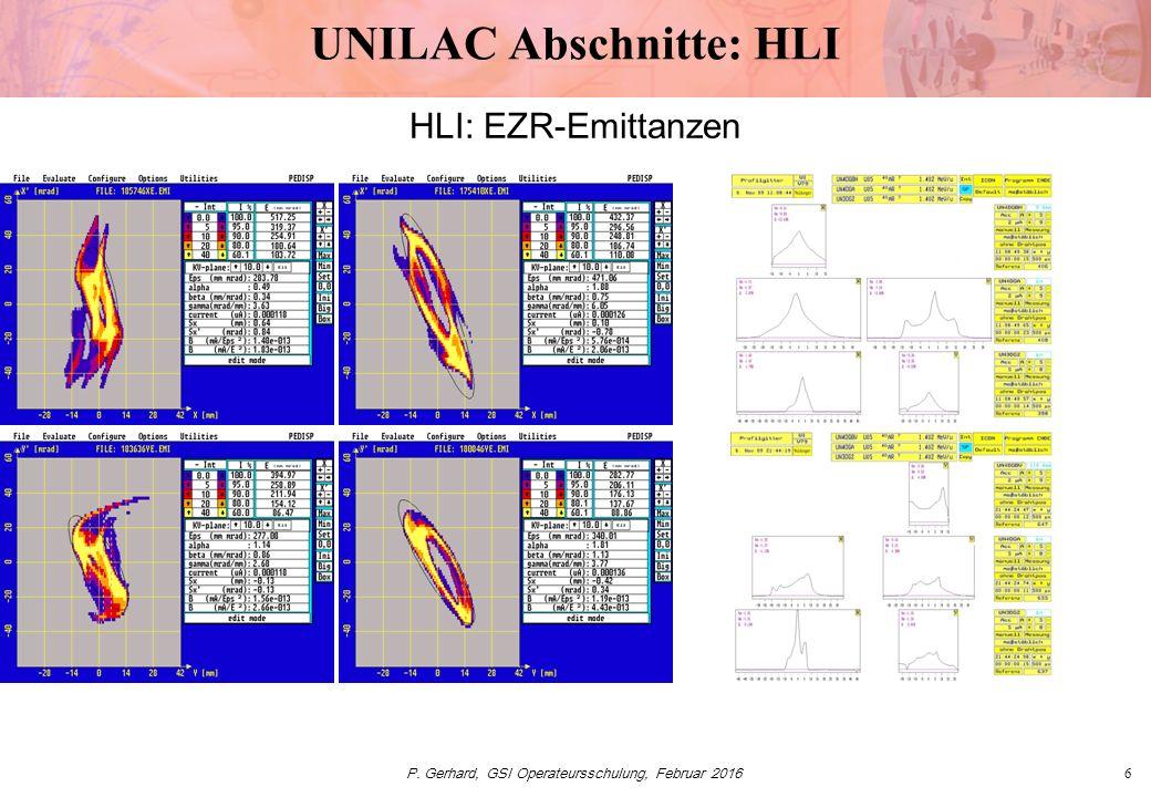 P. Gerhard, GSI Operateursschulung, Februar 20166 UNILAC Abschnitte: HLI HLI: EZR-Emittanzen
