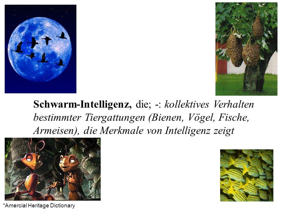 Schwarm-Intelligenz, die; -: kollektives Verhalten bestimmter Tiergattungen (Bienen, Vögel, Fische, Armeisen), die Merkmale von Intelligenz zeigt *Ame
