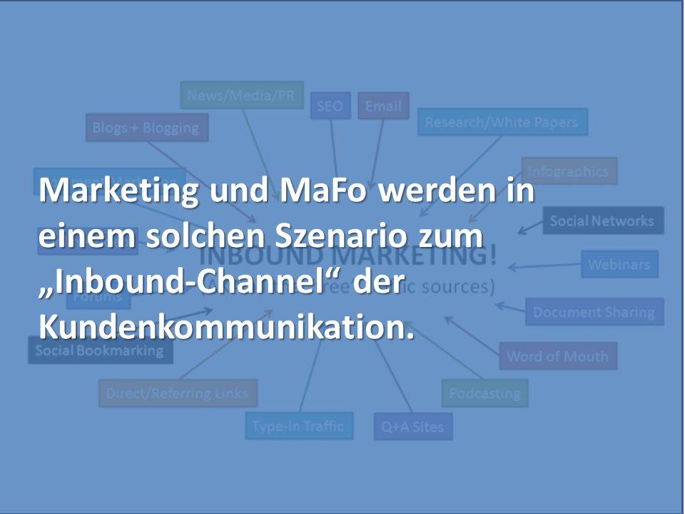 """Marketing und MaFo werden in einem solchen Szenario zum """"Inbound-Channel"""" der Kundenkommunikation."""