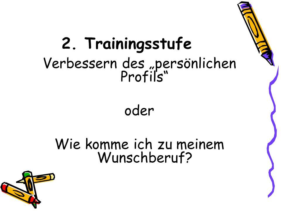 """2. Trainingsstufe Verbessern des """"persönlichen Profils oder Wie komme ich zu meinem Wunschberuf"""