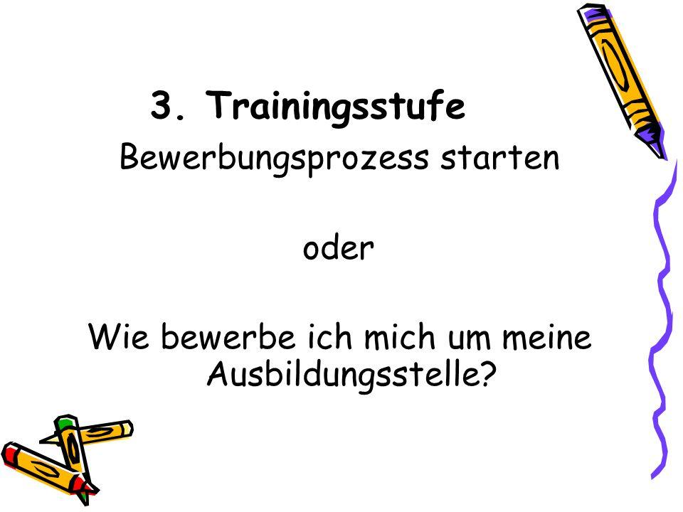 3. Trainingsstufe Bewerbungsprozess starten oder Wie bewerbe ich mich um meine Ausbildungsstelle