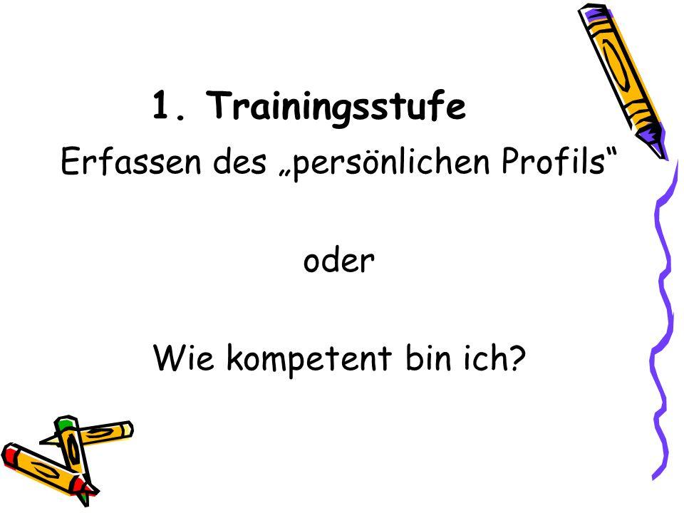 """1. Trainingsstufe Erfassen des """"persönlichen Profils oder Wie kompetent bin ich"""