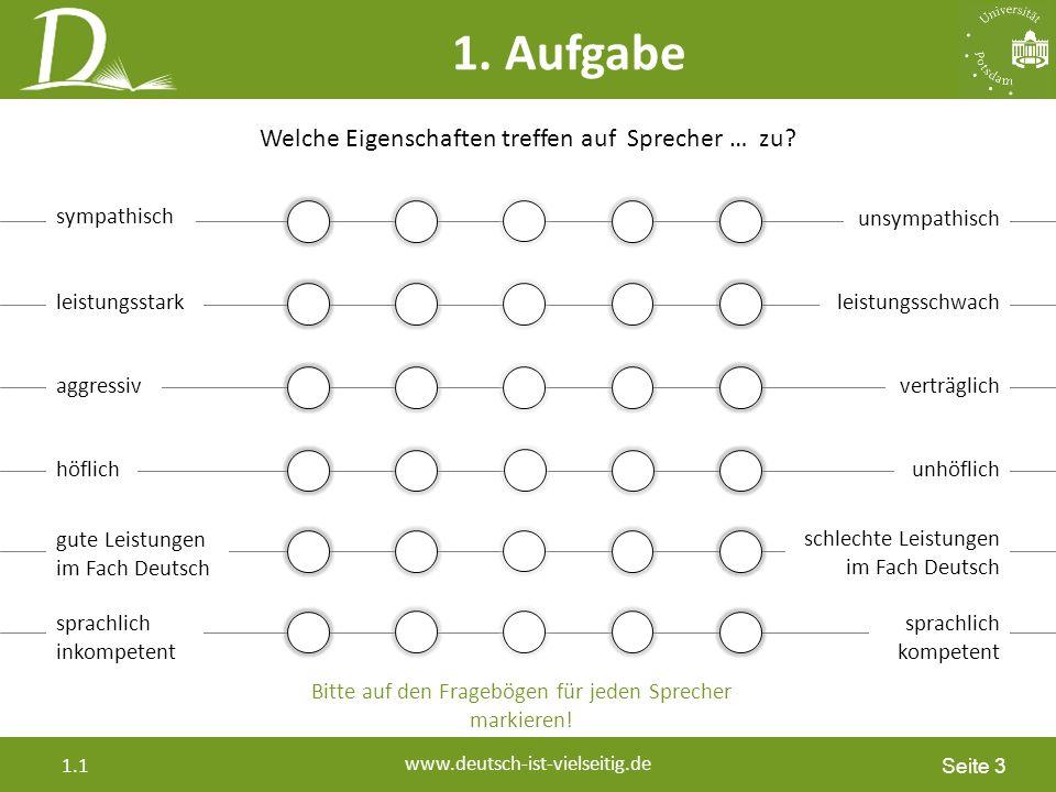 Seite 14 www.deutsch-ist-vielseitig.de 1.1 Vorsicht bei der Gleichsetzung von affektiven, behavioralen, sozialen Kompetenzen sprachlichen Merkmalen Einstellungen gegenüber Sprechweisen und Sprechergruppen