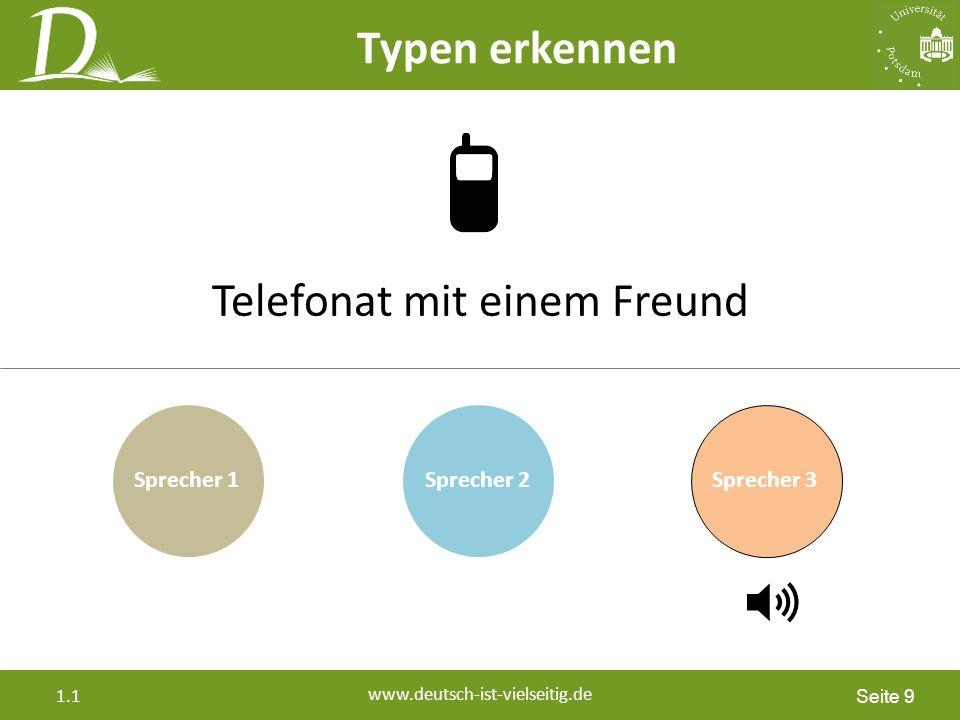 Seite 9 www.deutsch-ist-vielseitig.de 1.1 Sprecher 2Sprecher 3 Telefonat mit einem Freund Sprecher 1 Typen erkennen