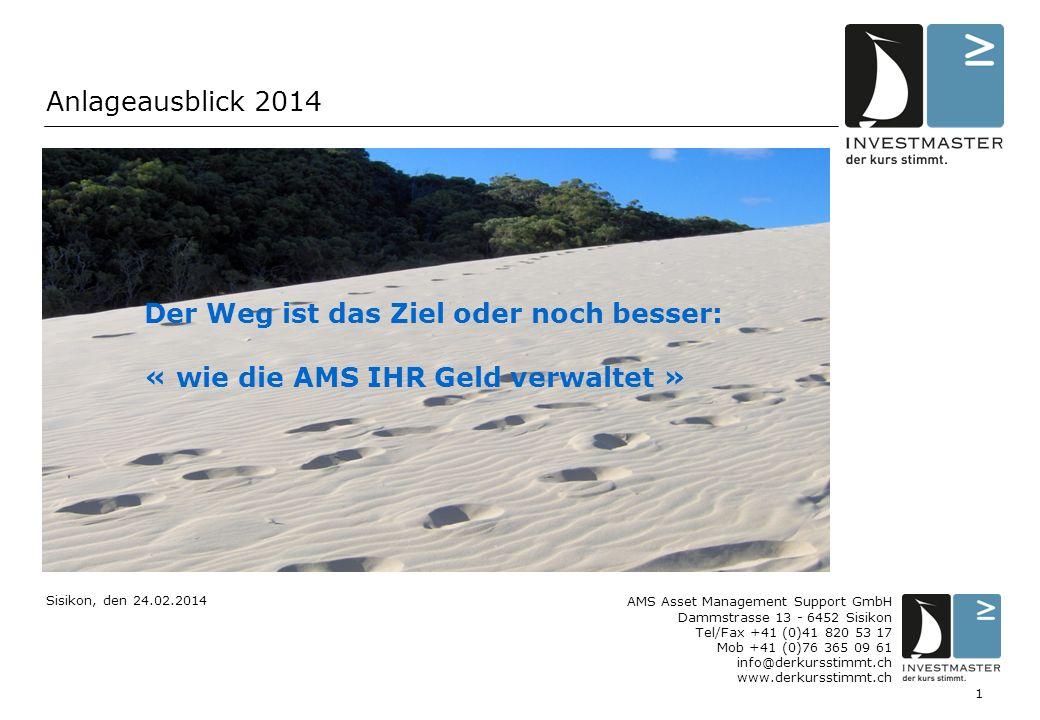 1 Anlageausblick 2014 AMS Asset Management Support GmbH Dammstrasse 13 - 6452 Sisikon Tel/Fax +41 (0)41 820 53 17 Mob +41 (0)76 365 09 61 info@derkurs