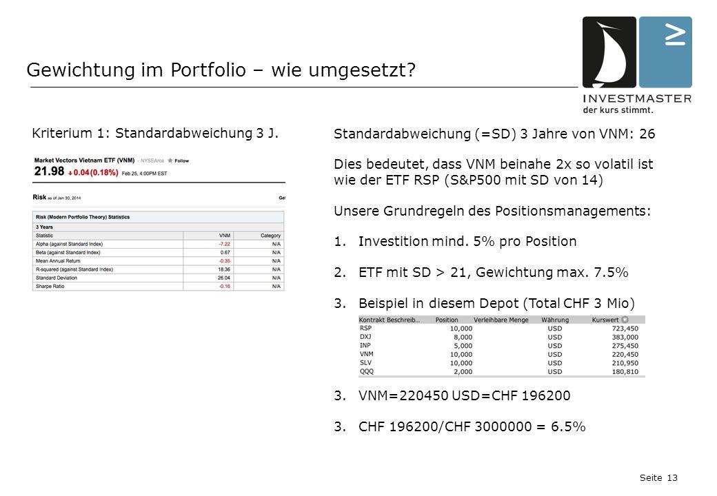 Seite 13 Gewichtung im Portfolio – wie umgesetzt. Kriterium 1: Standardabweichung 3 J.