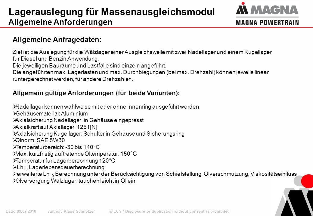 © ECS / Disclosure or duplication without consent is prohibited Lagerauslegung für Massenausgleichsmodul Allgemeine Projektdaten: Author: Klaus Schnölzer Date: 09.02.2010 Allgemeine Projektdaten: Ziel sollte sein, die Anforderungen möglichst mit Kataloglagern zu erfüllen.