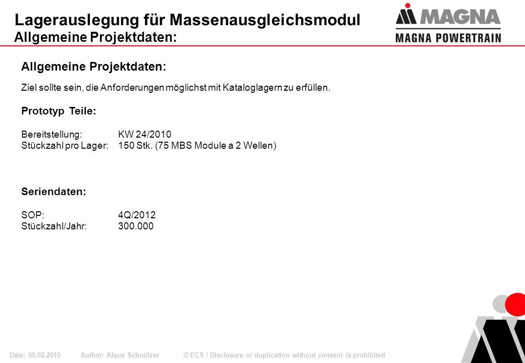 © ECS / Disclosure or duplication without consent is prohibited Ø40 Lagerlasten und Belastungsdaten Diesel Author: Klaus Schnölzer Date: 09.02.2010 Bauraum für Diesel