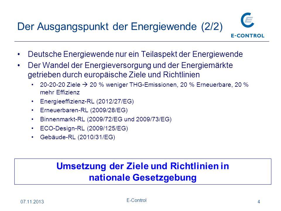 Der Ausgangspunkt der Energiewende (2/2) 07.11.2013 E-Control 4 Deutsche Energiewende nur ein Teilaspekt der Energiewende Der Wandel der Energieversorgung und der Energiemärkte getrieben durch europäische Ziele und Richtlinien 20-20-20 Ziele  20 % weniger THG-Emissionen, 20 % Erneuerbare, 20 % mehr Effizienz Energieeffizienz-RL (2012/27/EG) Erneuerbaren-RL (2009/28/EG) Binnenmarkt-RL (2009/72/EG und 2009/73/EG) ECO-Design-RL (2009/125/EG) Gebäude-RL (2010/31/EG) Umsetzung der Ziele und Richtlinien in nationale Gesetzgebung