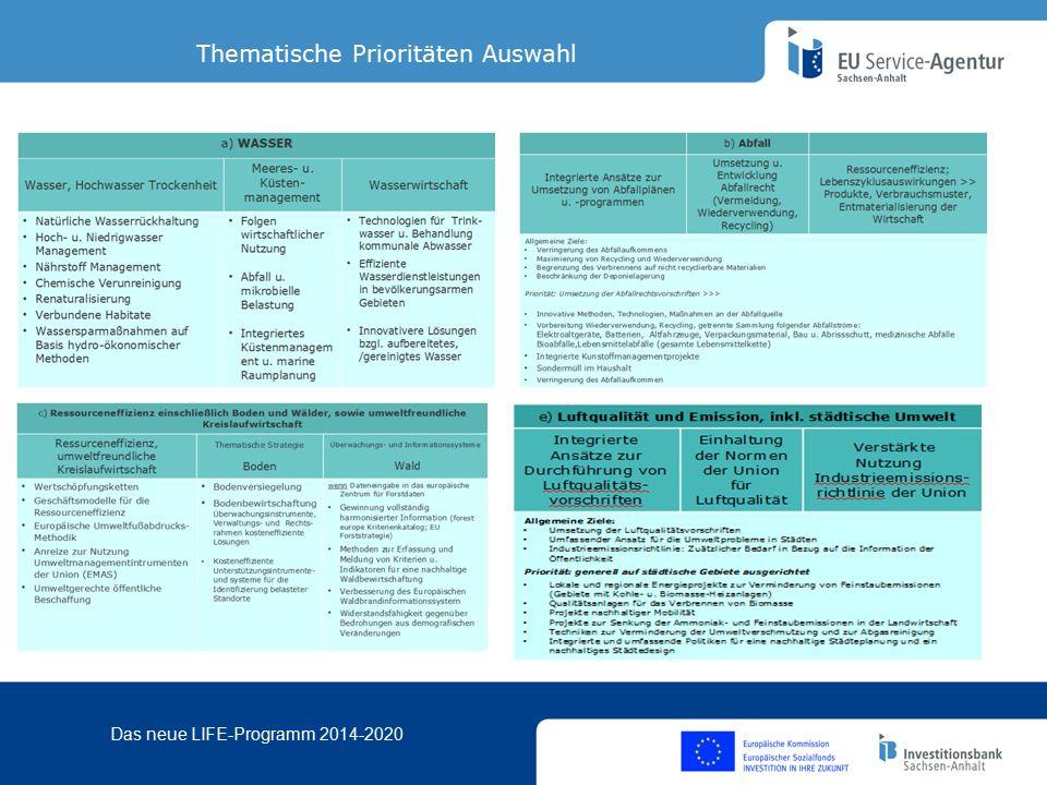 Das neue LIFE-Programm 2014-2020 Thematische Prioritäten Auswahl