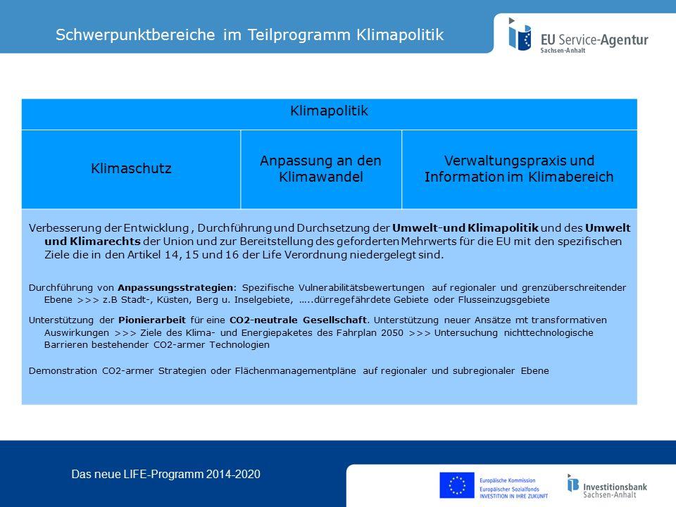 Das neue LIFE-Programm 2014-2020 2.