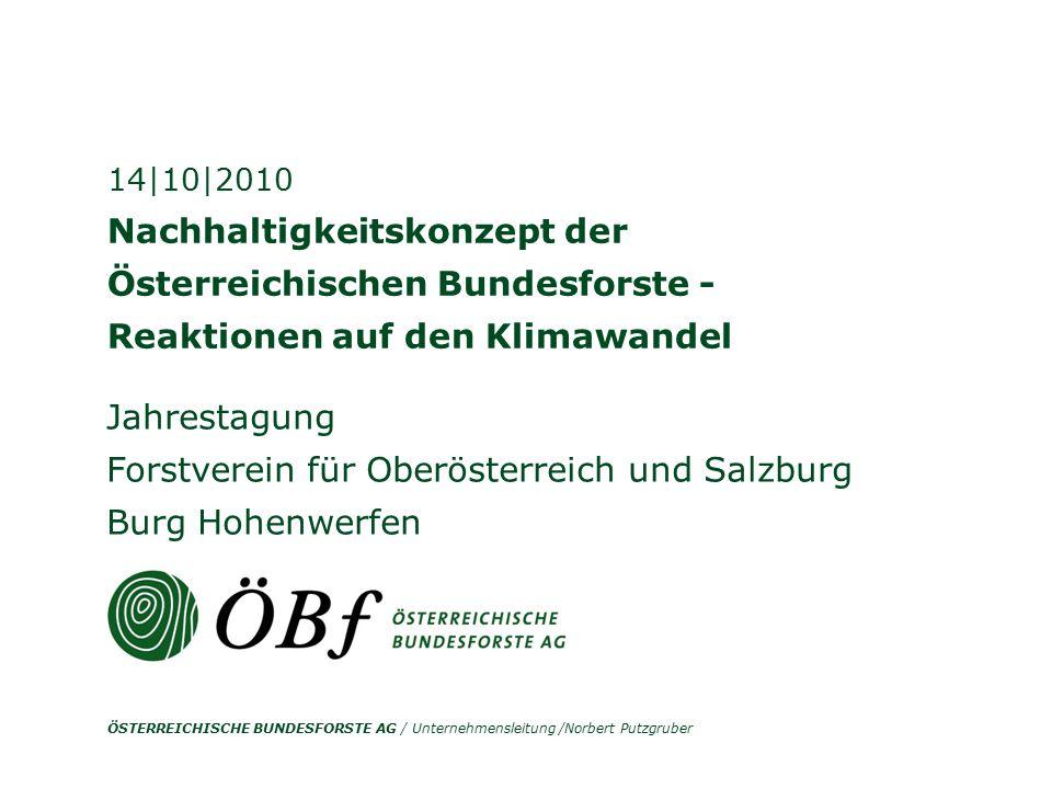 ÖSTERREICHISCHE BUNDESFORSTE AG / Unternehmensleitung /Norbert Putzgruber Nachhaltigkeitskonzept der Österreichischen Bundesforste - Reaktionen auf de