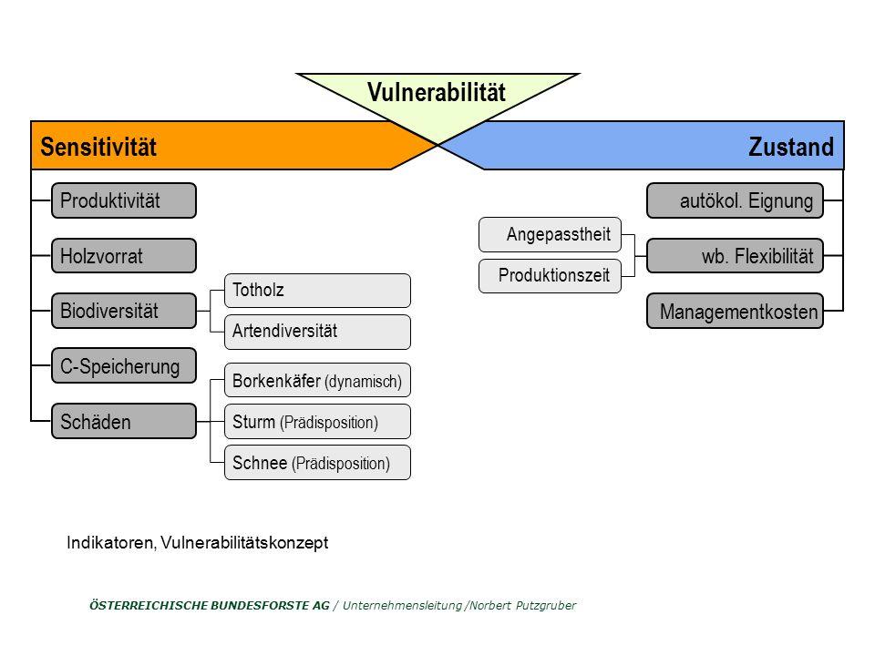 ÖSTERREICHISCHE BUNDESFORSTE AG / Unternehmensleitung /Norbert Putzgruber Sensitivität Produktivität Holzvorrat Biodiversität C-Speicherung Schäden To