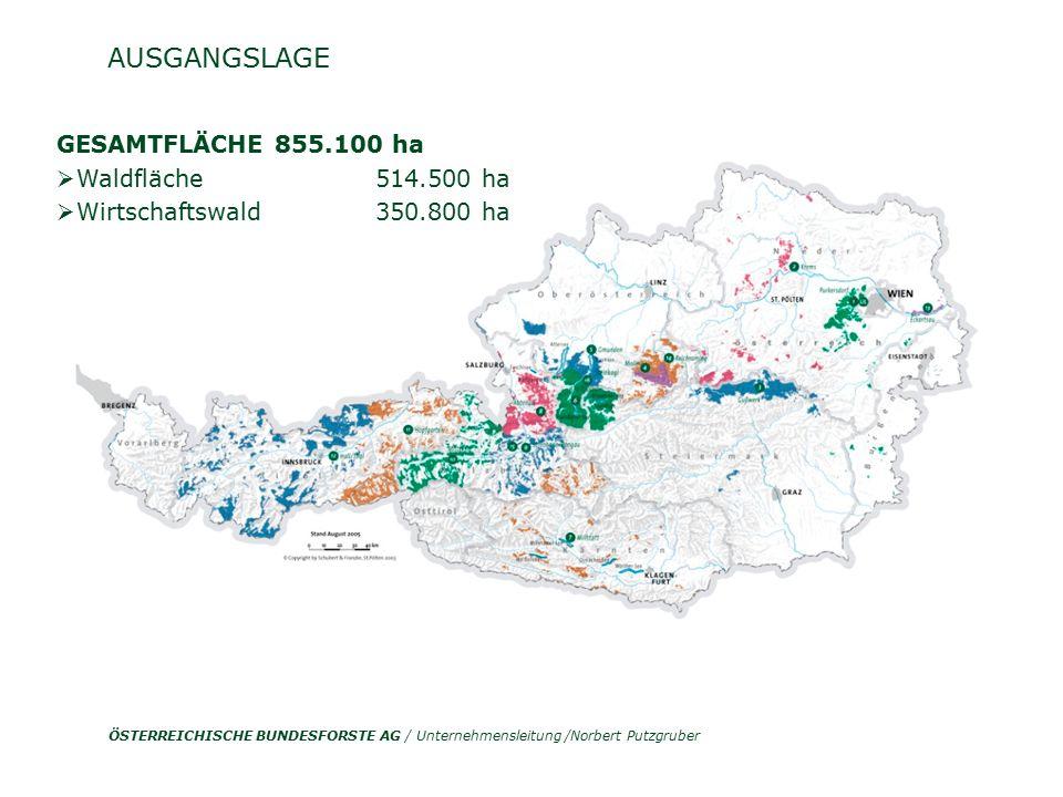 ÖSTERREICHISCHE BUNDESFORSTE AG / Unternehmensleitung /Norbert Putzgruber AUSGANGSLAGE Grundgestein Quelle: ÖWI 2000/2002 Fichte 38 % Nadelholz 54% Durchschnittserlös 2007 [Euro/fm] NH 69,3 LH 46;4  104 Standortseinheiten