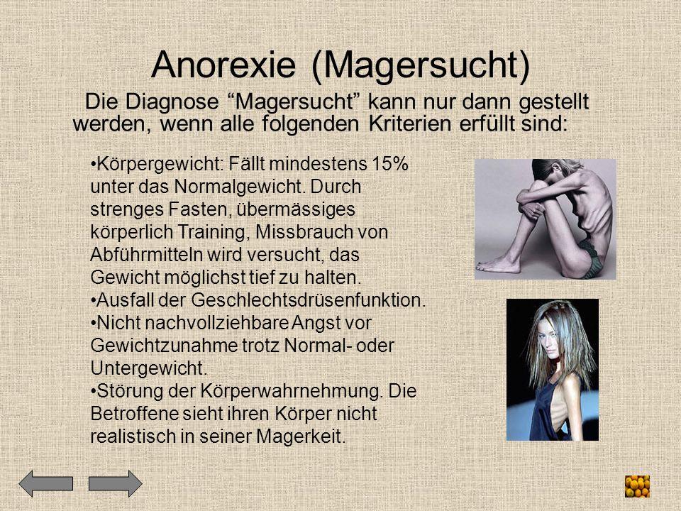 """Anorexie (Magersucht) Die Diagnose """"Magersucht"""" kann nur dann gestellt werden, wenn alle folgenden Kriterien erfüllt sind: Körpergewicht: Fällt mindes"""