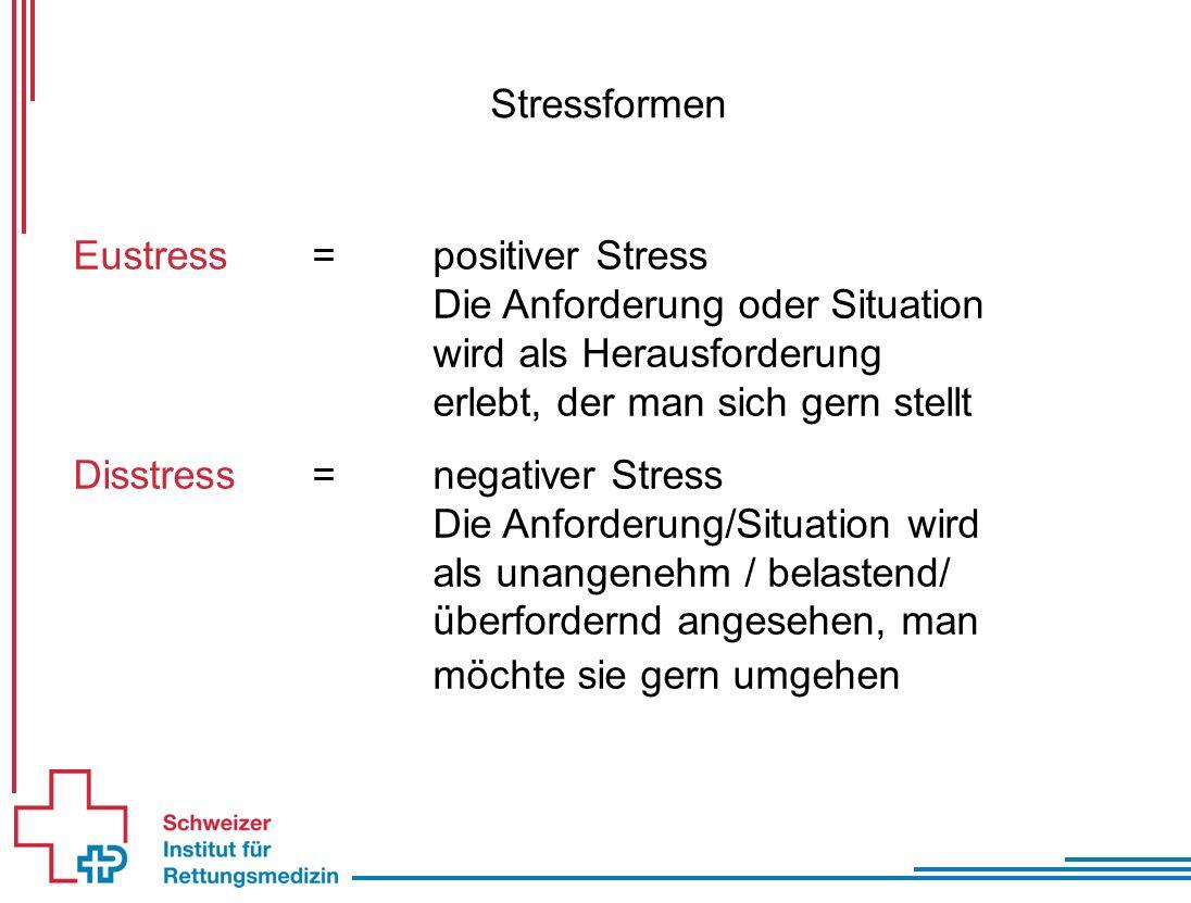 Stressformen Eustress=positiver Stress Die Anforderung oder Situation wird als Herausforderung erlebt, der man sich gern stellt Disstress=negativer Stress Die Anforderung/Situation wird als unangenehm / belastend/ überfordernd angesehen, man möchte sie gern umgehen