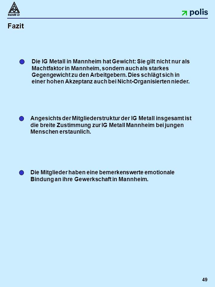 49 Fazit Die IG Metall in Mannheim hat Gewicht: Sie gilt nicht nur als Machtfaktor in Mannheim, sondern auch als starkes Gegengewicht zu den Arbeitgebern.