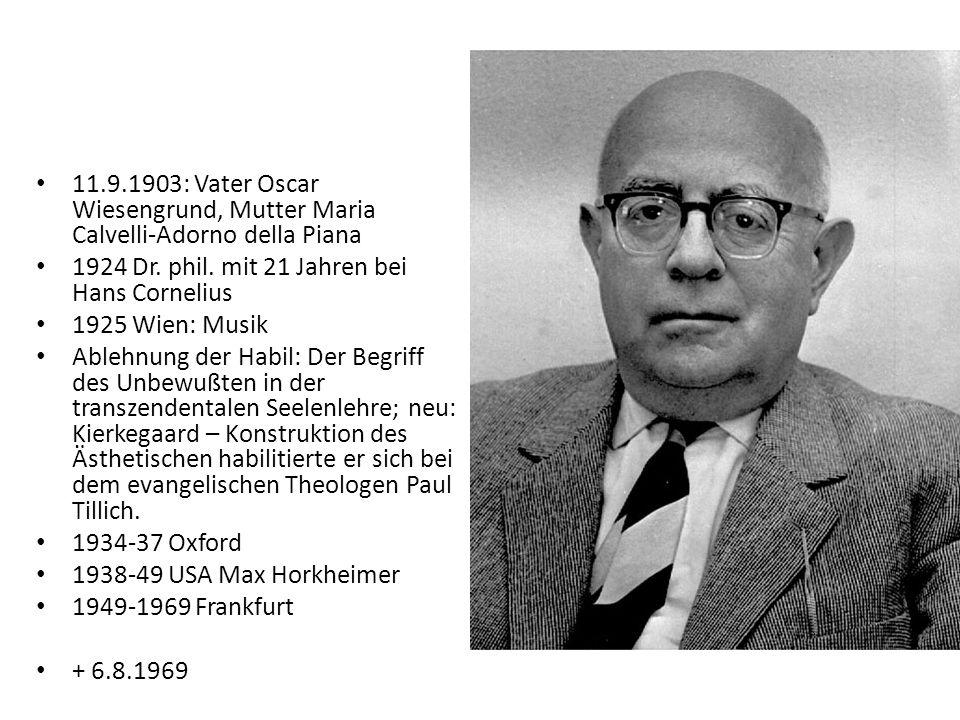Adornos Bezug zum Judentum Sein Vater war Jude, der zum Protestantismus konvertierte.