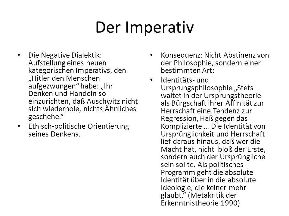 Bilderverbot Absage an eine Identitätslogik Dennoch: Wahrheit als Unbedingtheitsmoment am Bedingten.
