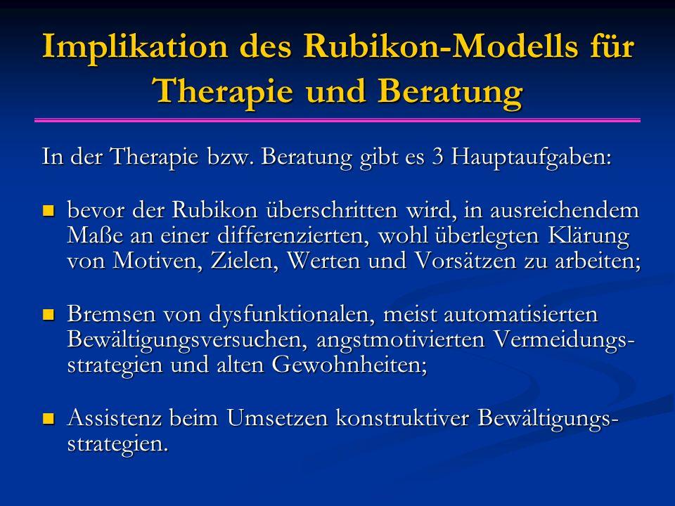 Implikation des Rubikon-Modells für Therapie und Beratung In der Therapie bzw.