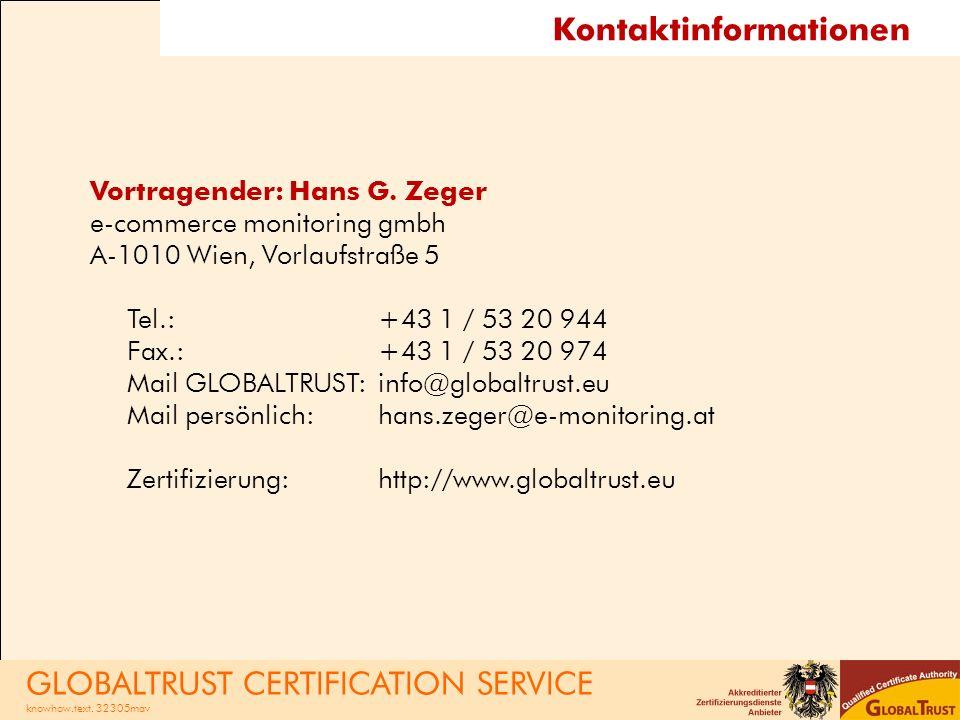 Kontaktinformationen Vortragender: Hans G.