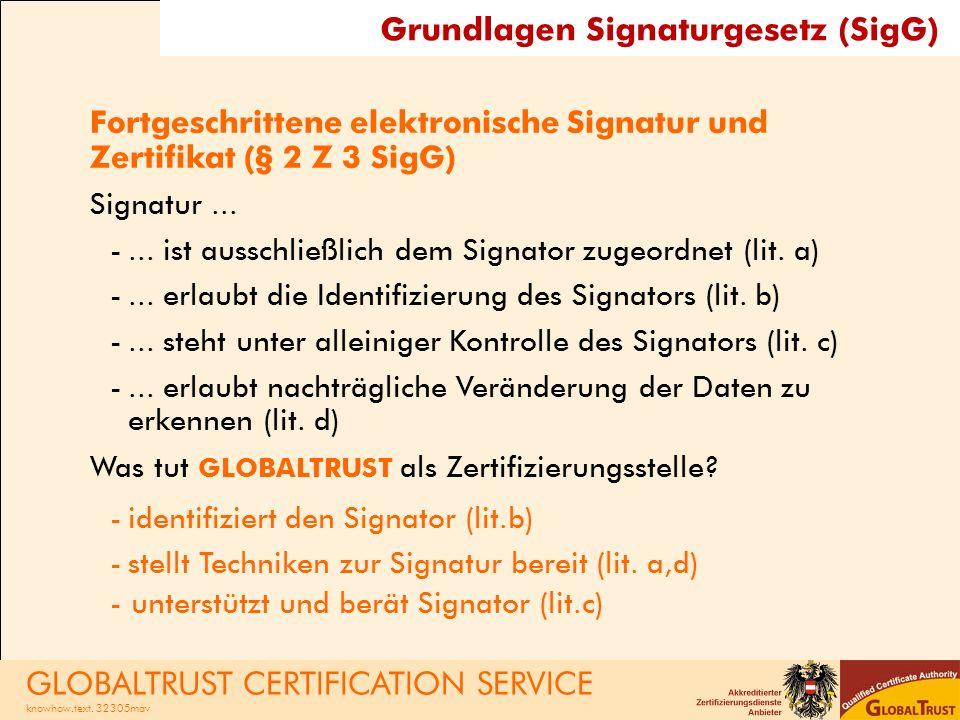 Fragen? GLOBALTRUST CERTIFICATION SERVICE knowhow.text. 32305mav