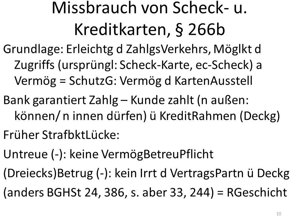 Missbrauch von Scheck- u.