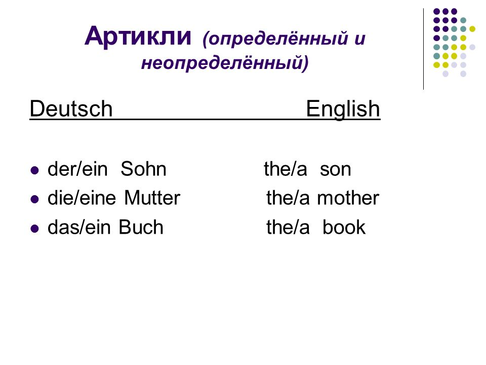 Артикли (определённый и неопределённый) Deutsch English der/ein Sohn the/a son die/eine Mutter the/a mother das/ein Buch the/a book