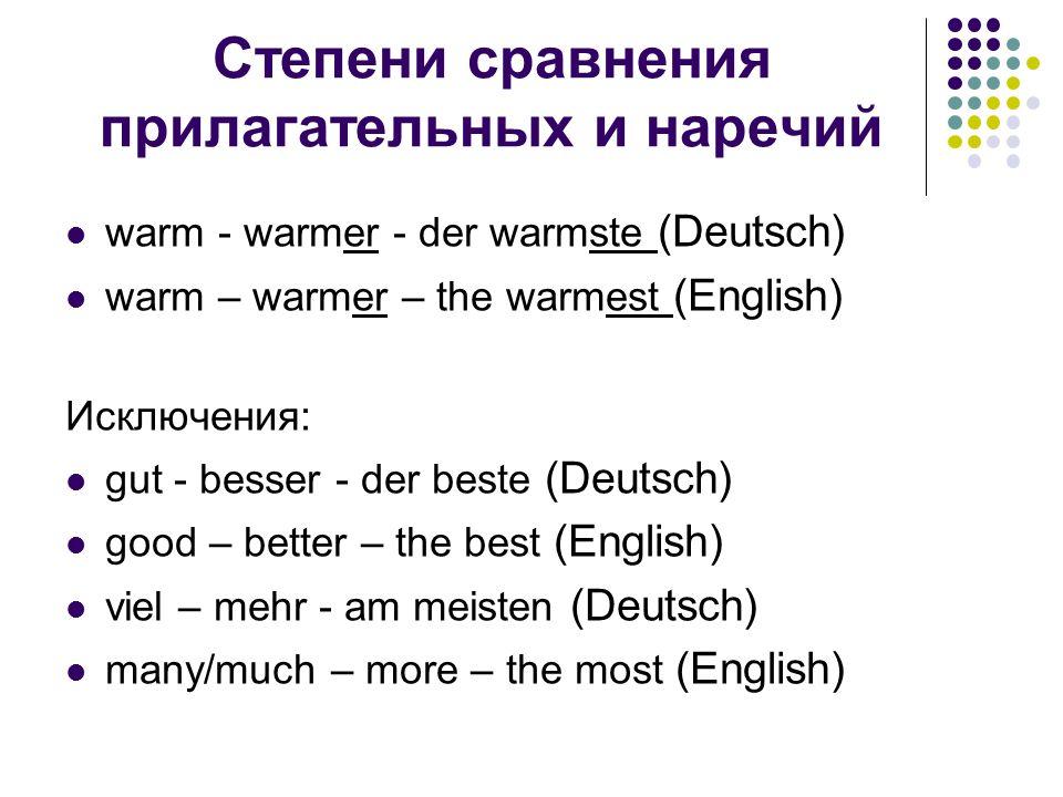 Степени сравнения прилагательных и наречий warm - warmer - der warmste (Deutsch) warm – warmer – the warmest (English) Исключения: gut - besser - der beste (Deutsch) good – better – the best (English) viel – mehr - am meisten (Deutsch) many/much – more – the most (English)