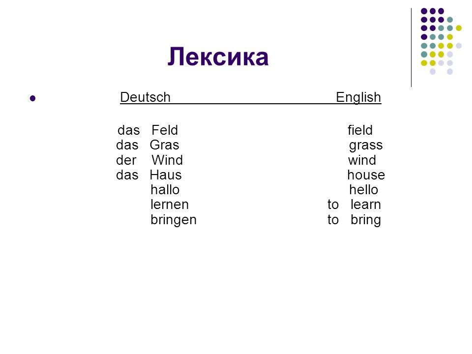 Лексика Deutsch English das Feld field das Gras grass der Wind wind das Haus house hallo hello lernen to learn bringen to bring