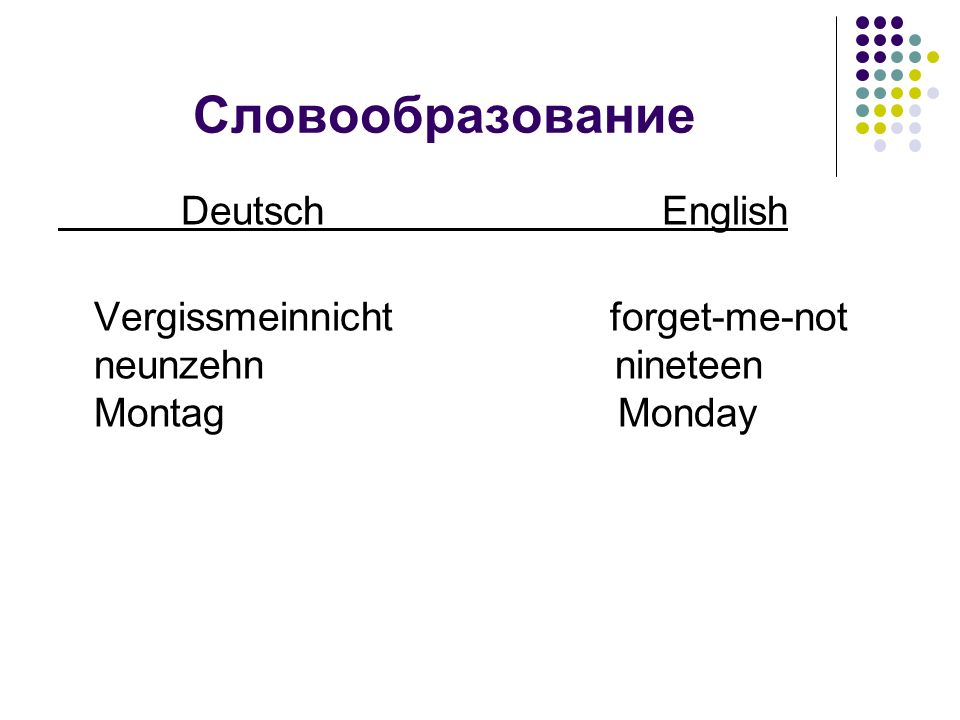 Словообразование Deutsch English Vergissmeinnicht forget-me-not neunzehn nineteen Montag Monday