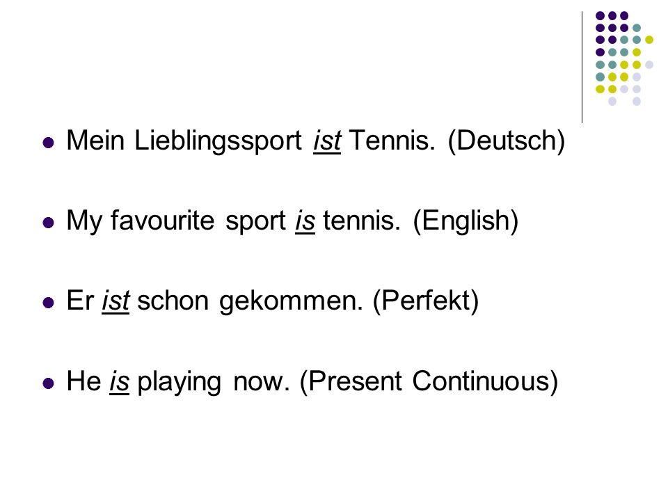 Mein Lieblingssport ist Tennis. (Deutsch) My favourite sport is tennis.