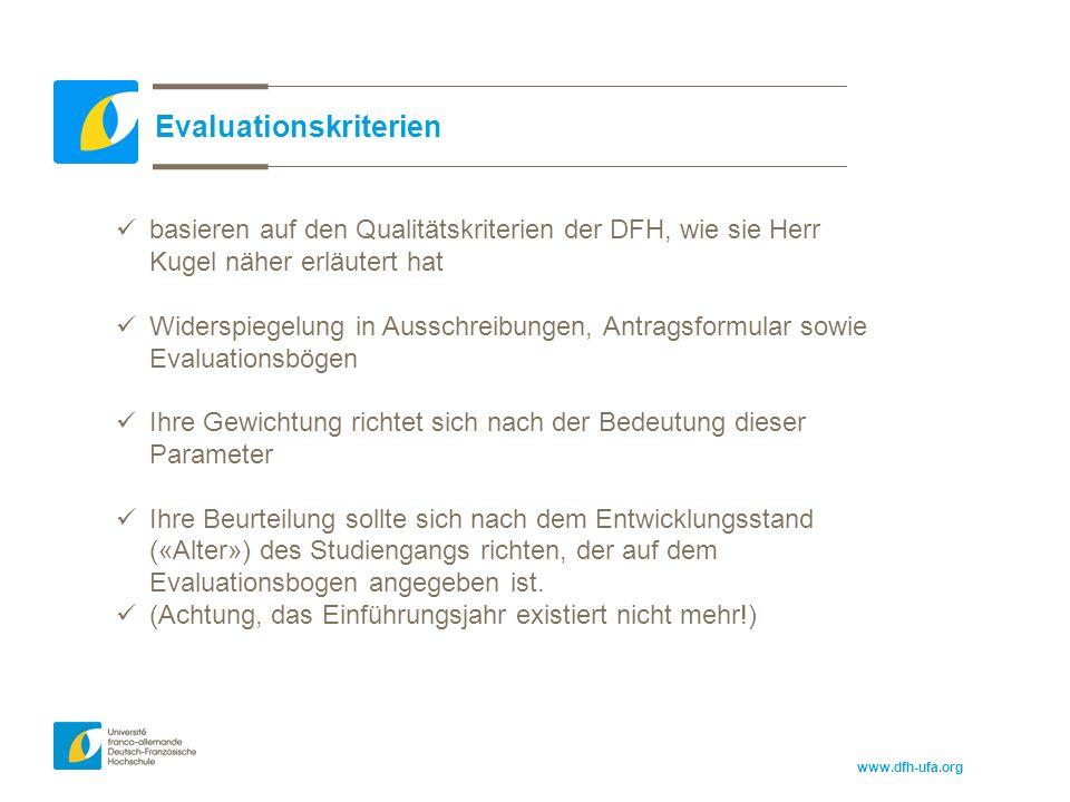 www.dfh-ufa.org Evaluationskriterien basieren auf den Qualitätskriterien der DFH, wie sie Herr Kugel näher erläutert hat Widerspiegelung in Ausschreibungen, Antragsformular sowie Evaluationsbögen Ihre Gewichtung richtet sich nach der Bedeutung dieser Parameter Ihre Beurteilung sollte sich nach dem Entwicklungsstand («Alter») des Studiengangs richten, der auf dem Evaluationsbogen angegeben ist.