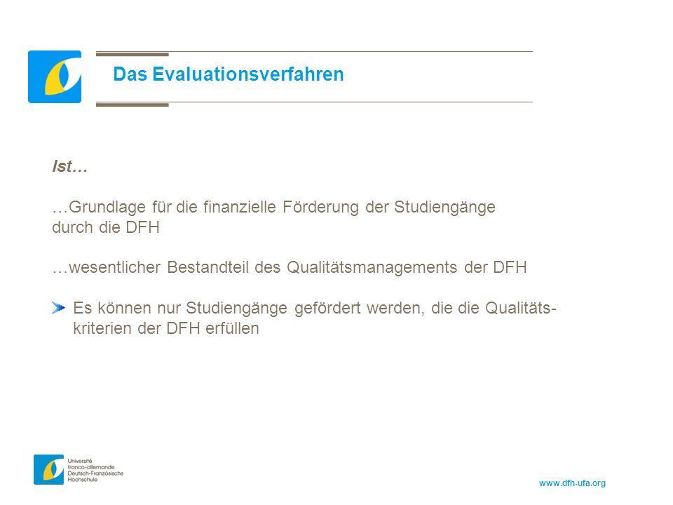 www.dfh-ufa.org Das Evaluationsverfahren Ist… …Grundlage für die finanzielle Förderung der Studiengänge durch die DFH …wesentlicher Bestandteil des Qualitätsmanagements der DFH Es können nur Studiengänge gefördert werden, die die Qualitäts- kriterien der DFH erfüllen