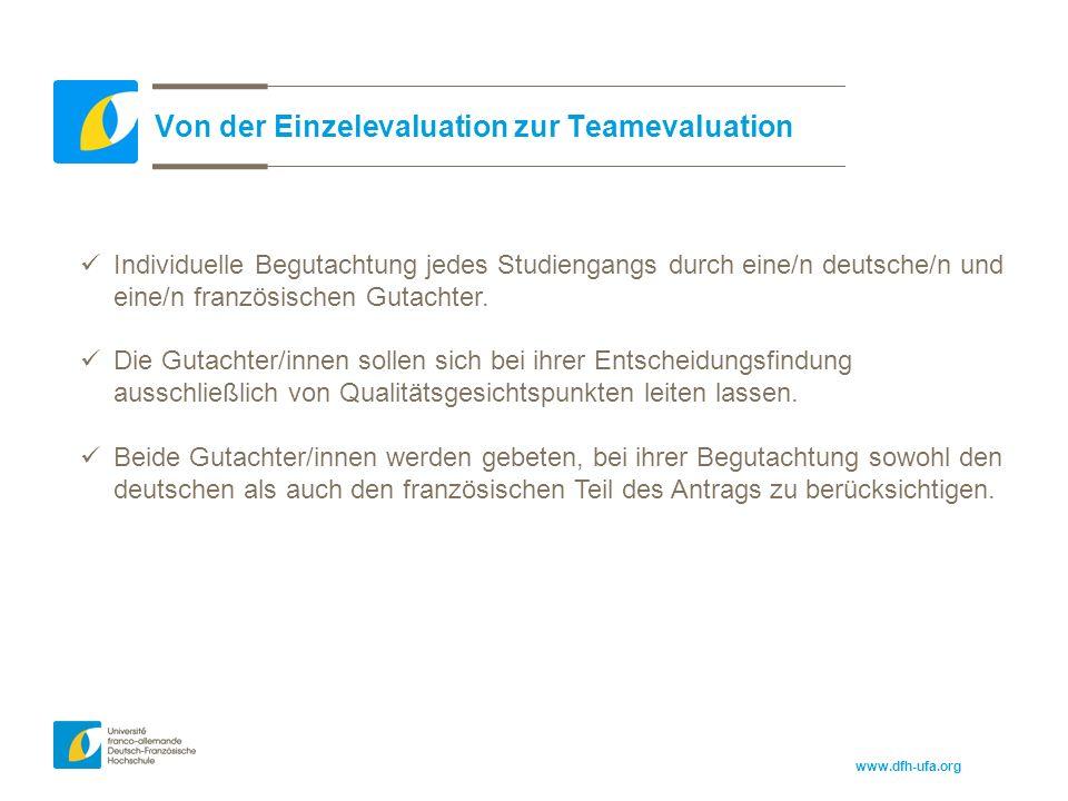 www.dfh-ufa.org Von der Einzelevaluation zur Teamevaluation Individuelle Begutachtung jedes Studiengangs durch eine/n deutsche/n und eine/n französischen Gutachter.