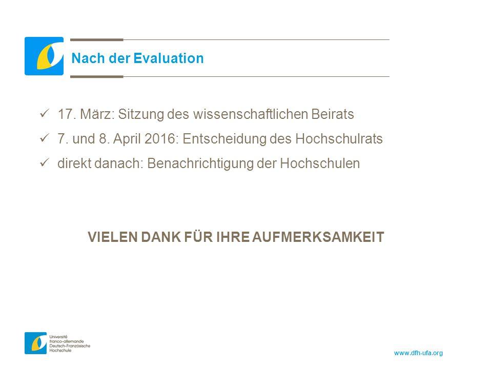 www.dfh-ufa.org Nach der Evaluation 17. März: Sitzung des wissenschaftlichen Beirats 7.