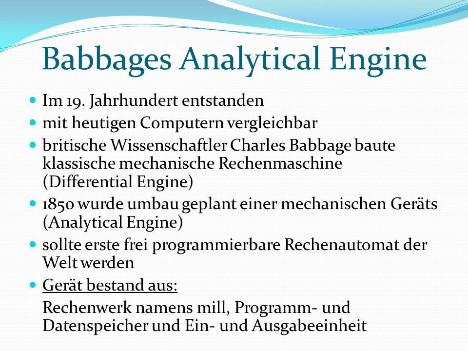 Zuse Z3 Konrad Zuse programmierte in Berlin elektromechanische Rechenautomaten Es war sein dritter Versuch, der auch funktionierte Bestehend aus: Relais, elektromagnetischen Schaltern aus Telefontechnik, verwendete eine binäre Fließkommaarithmetik Hauptspeicher besaß eine Kapazität von 64 Maschinenwörtern