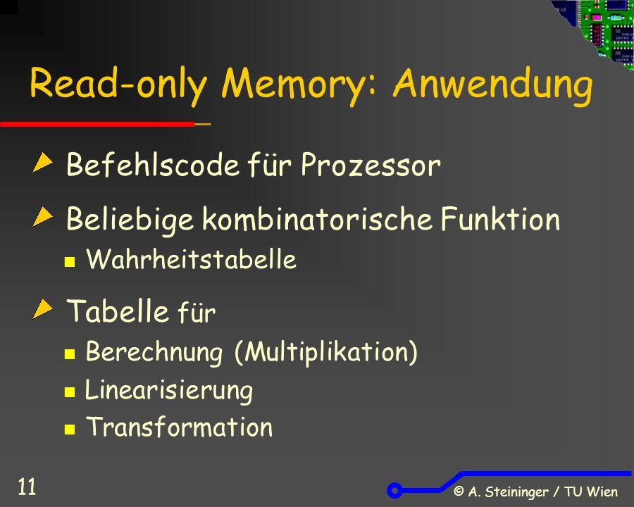 © A. Steininger / TU Wien 11 Read-only Memory: Anwendung Befehlscode für Prozessor Beliebige kombinatorische Funktion Wahrheitstabelle Tabelle für Ber