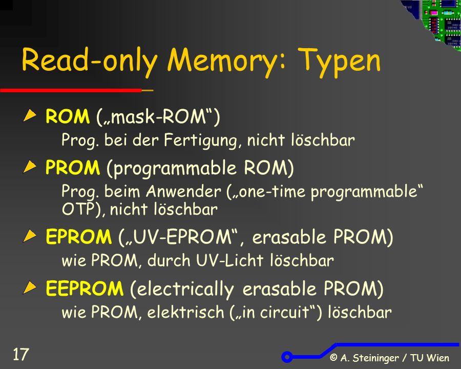 """© A. Steininger / TU Wien 17 Read-only Memory: Typen ROM (""""mask-ROM ) Prog."""