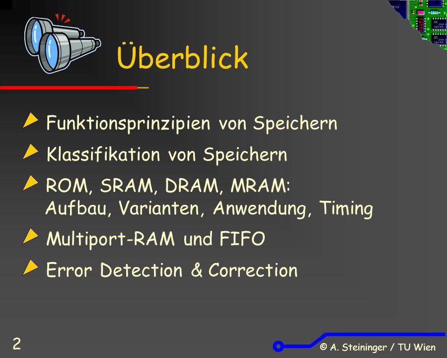 © A. Steininger / TU Wien 2 Funktionsprinzipien von Speichern Klassifikation von Speichern ROM, SRAM, DRAM, MRAM: Aufbau, Varianten, Anwendung, Timing