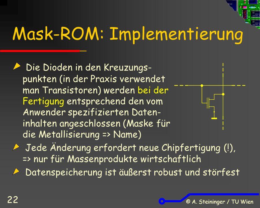 © A. Steininger / TU Wien 22 Mask-ROM: Implementierung Die Dioden in den Kreuzungs- punkten (in der Praxis verwendet man Transistoren) werden bei der